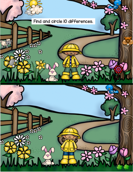 This Spring Find the Difference PDF digital packet will challenge your students visual perceptual skills! Can you spot the 10 differences in the pictures?