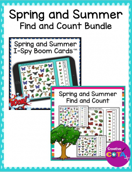 This is a set of Spring and Summer I Spy Print and Boom Card Editions. Challenge your students visual discrimination, visual scanning, visual motor, and counting skills with these fun activities.