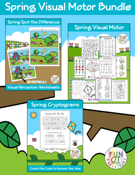 This Spring Time Visual Motor Bundle includes no-prep visual motor activities such as mazes, puzzles, spot the difference, cryptograms, spot-it game, word search, matching, crossing midline, form constancy, glyphs, drawing, cutting, prewriting lines and shapes, and lots more!