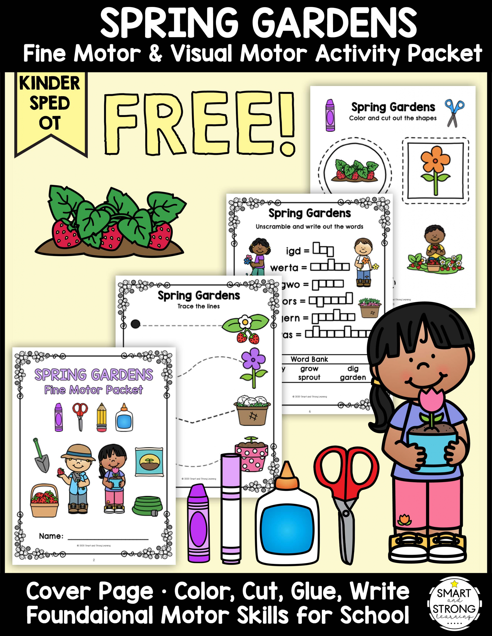 Are your students participating in a garden theme? The Garden Fine Motor Freebie packet is all set to go to practice pre-writing and scissors skills.