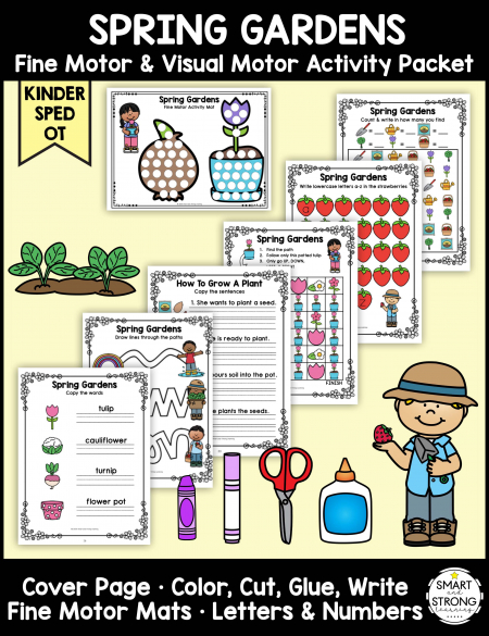 This garden theme classroom fine motor activity packet focuses on all things related to Spring gardens - Color, Write, Cut, Glue during the month of May or anytime!