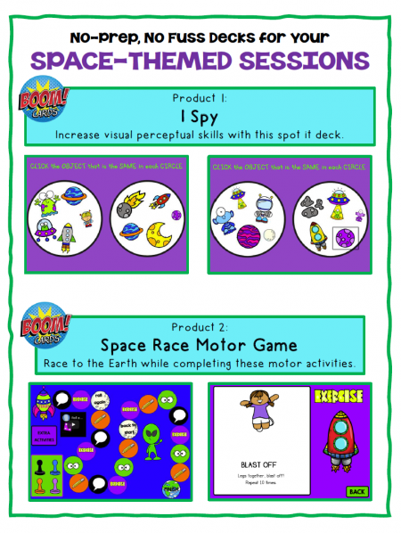 The Space Boom Cards include 2 different no print digital engaging activities to help with handwriting, keyboarding, sensory motor, and visual perceptual skills!