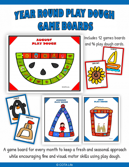 This collection of Year Round Play Dough Board Games includes 12 no-prep games and 96 play dough cards for throughout the school year.