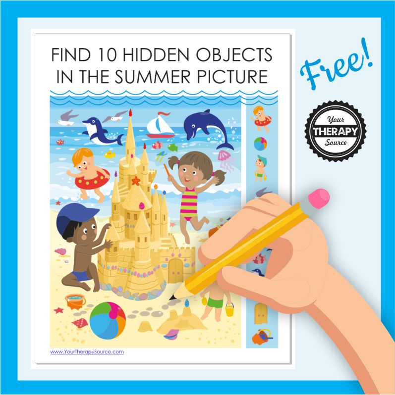 Need a quick activity to challenge your students visual perceptual and fine motor skills? Check out this FREE I Spy Summer printable.