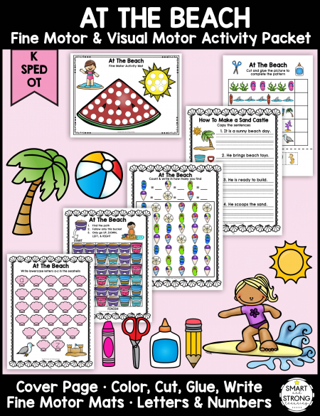 The Beach and Ocean Fine Motor Activities Packet - Color, Write, Cut, Glue is perfect of Summer or anytime of year!