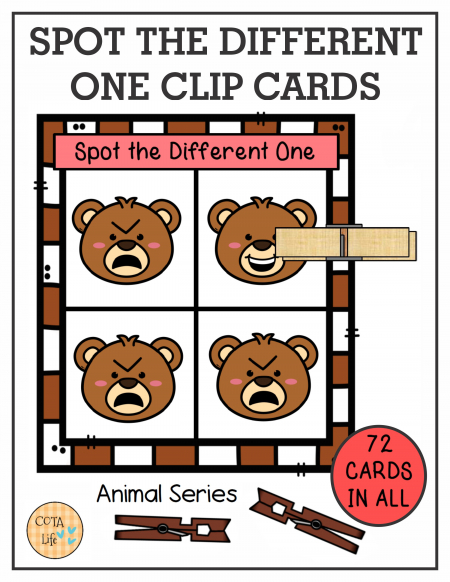 This set of 72 Spot the Difference Animal Clip Cards encourage hand strengthening, visual perceptual skills and bilateral coordination.