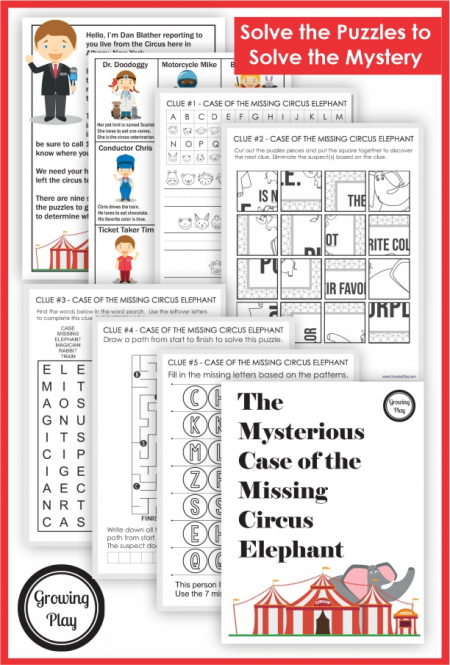 TheCircus Worksheets Mystery Puzzle pack asks children to solve The Mysterious Case of the Missing Elephant.