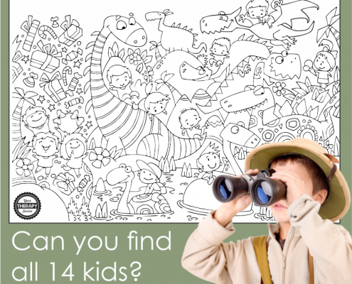 I Spy Dinosaurs printable PDF is a simple find and color activity featuring 14 kids to search for in the black and white picture.