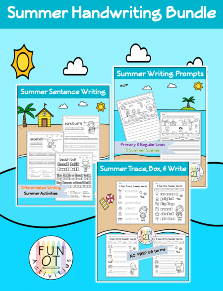 Created by Fun OT Activities, this Summer Handwriting bundle will be sure to keep your students engaged while practicing handwriting.