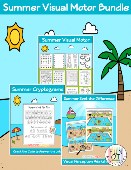 ThisSummer Visual Motor Bundle includes no-prep visual motor activities such as mazes, puzzles, spot the difference, cryptograms, and more!