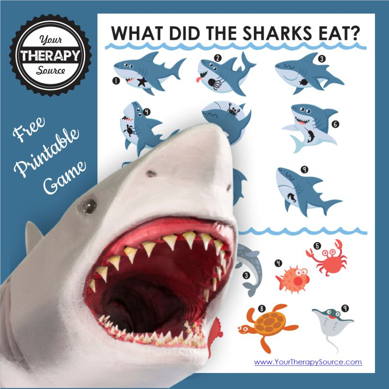 Need a fun shark game for kids to play? Add this FREE sensory motor printable to your bag of tricks. From Your Therapy Source