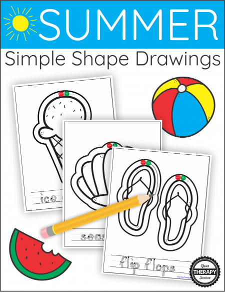 The Summer Simple Shape Drawings digital download includes 20+ simple Summer themed objects to draw around the outline.
