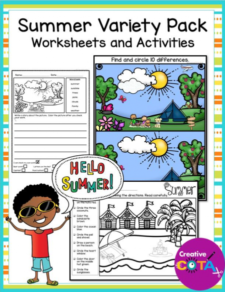 This Summer OT Variety Packet includes worksheets and activities with a Summer theme from many of the Creative COTA sets for occupational therapy.