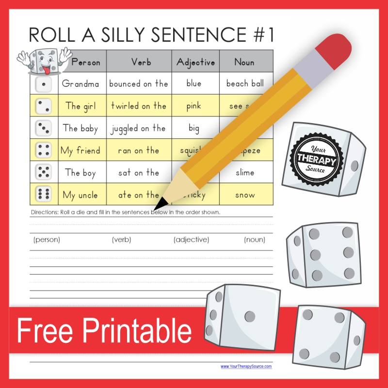 This Silly Sentences Printable free game will have students cracking up as they practice fine motor skills, handwriting, and writing.