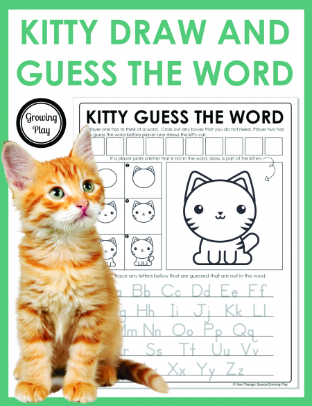 This Kitty Draw and Guess the Word game does just that! If your students like to play Hangman they will love this game!