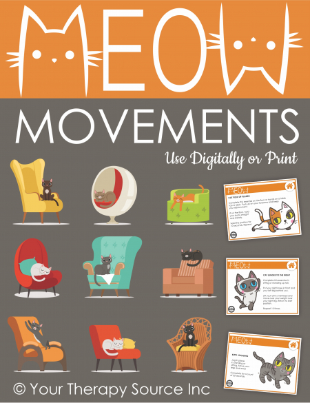 Looking for a fun movement cat game for kids? The Meow Movement interactive PDF game will have your students get physically active and have fun!