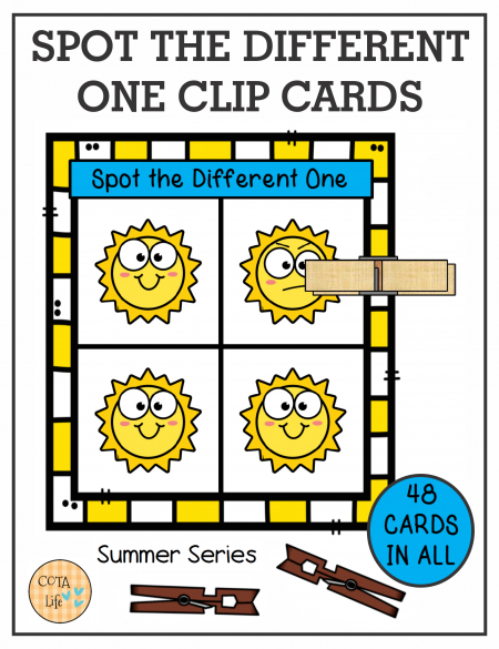 Need to encourage hand strengthening, visual skills and coordination? Check out this set of 48 Spot the Difference Summer Clip Cards.