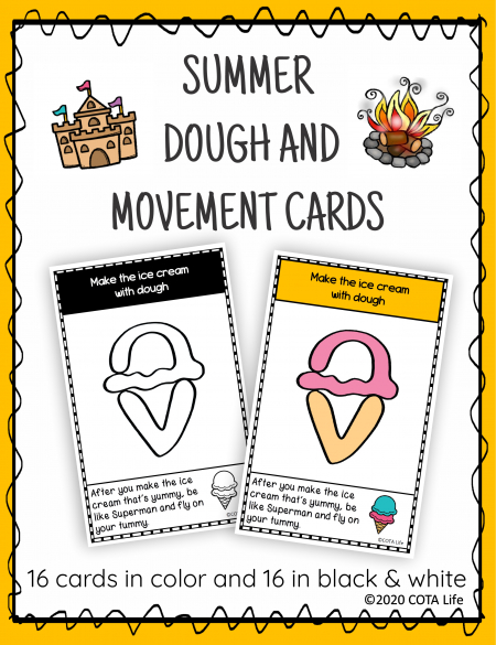 The Summer Play Dough and Movement Cards are designed for children to engage in the activity of play dough use and body movements.