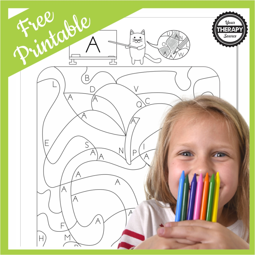 This Color By Letter A PDF freebie can be used with students to practice visual motor and visual spatial skills.