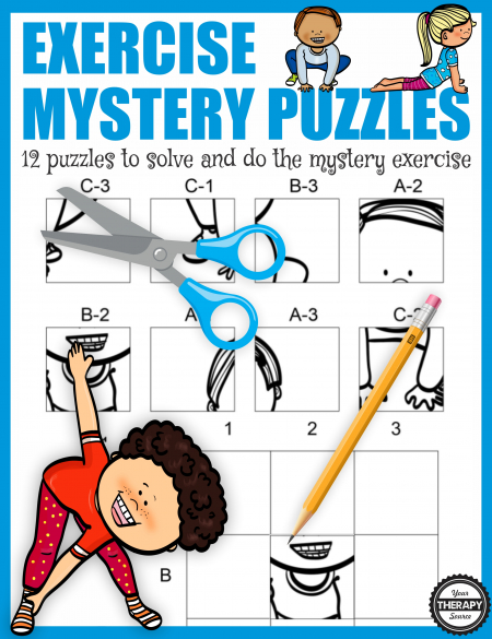 The Exercise Puzzles digital download includes 12 mystery puzzles to challenge fine motor, gross motor and visual motor skills.