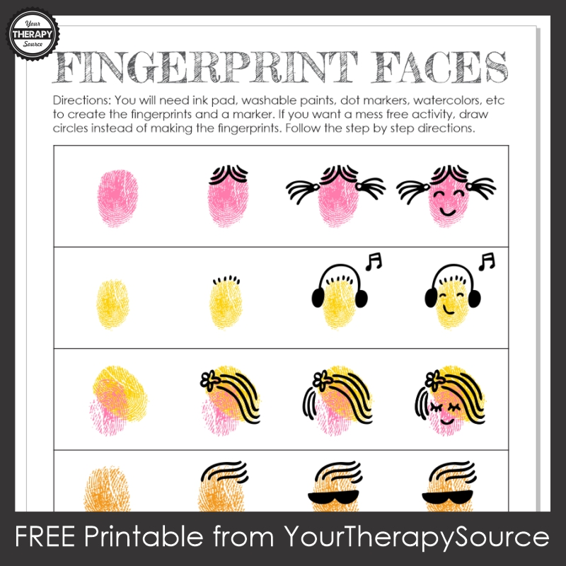 This FREE fingerprint art printable provides step by step directions to make some awesome people with your fingers! From Your Therapy Source