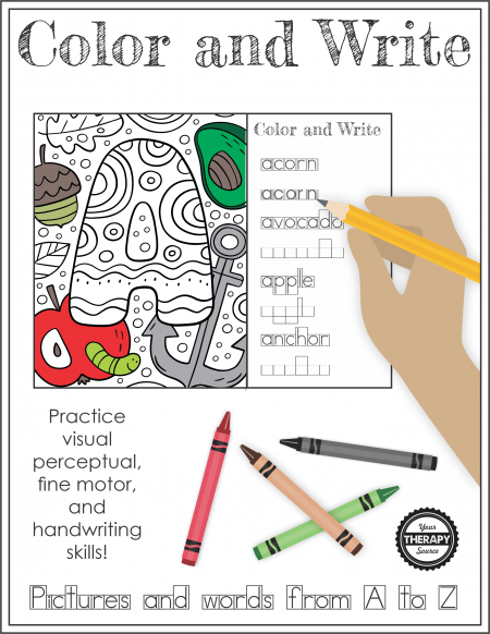 The Color and Write Alphabet packet includes all the letters from A to Z to find, color, and write the words from Your Therapy Source.