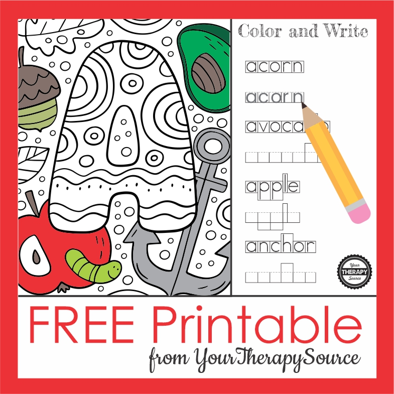 Practice so many skills with this one page, NO PREP, letter A coloring page. It is from the complete Color and Write at YourTherapySource.