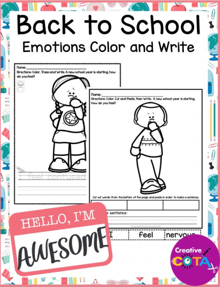 The Back to School Emotions Coloring and Writing packet is a NO PREP coloring, tracing, writing, and cut & paste resource.
