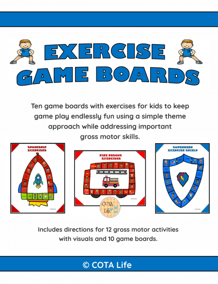 This Exercise Board Gamesdigital download includes 10 no-prep game boards to print and play to encourage physical activity, coordination and strengthening.