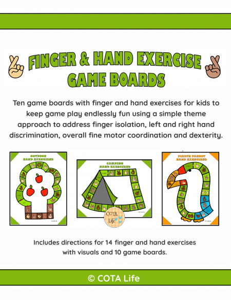This Hand and Finger Exercise Games digital download includes 10 no-prep game boards to print and play to practice finger skills.