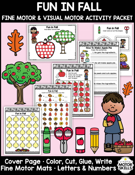 The Fall Fine Motor Activities – Color, Write, Cut, Glue digital download is an awesome NO PREP activity ready to go! Created by an Occupational Therapist, it is designed for: Kindergarten + aged students, SPED, OT, Home Activities and Fine Motor Stations.
