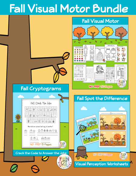 ThisFall Visual Motor Bundleincludes no-prep visual motor activities such as mazes, puzzles, spot the difference, cryptograms, and more!