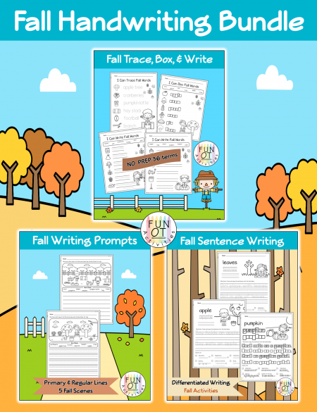 Work on handwriting skills with these differentiated writing activities in the Fall handwriting bundle! Created by Fun OT Activities.