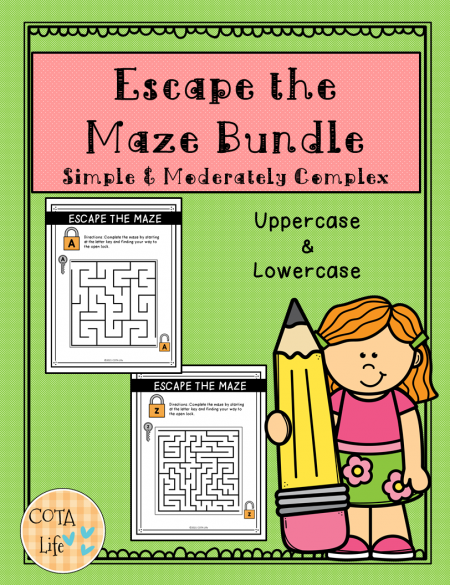 This Escape the Maze packet can help with visual motor and visual perceptual skill practice by completing 26 different simple mazes.