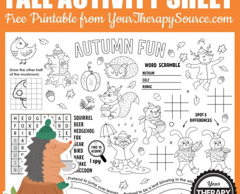You are going to be excited about this adorable, black and white fall activity page. You can download it for free from Your Therapy Source.