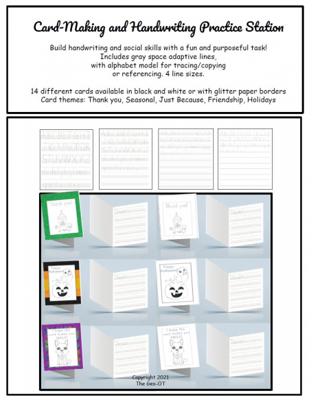 This Card Making and Handwriting Practice Station is ready to go! Created by a pediatric OT, this no prep is fun and purposeful!