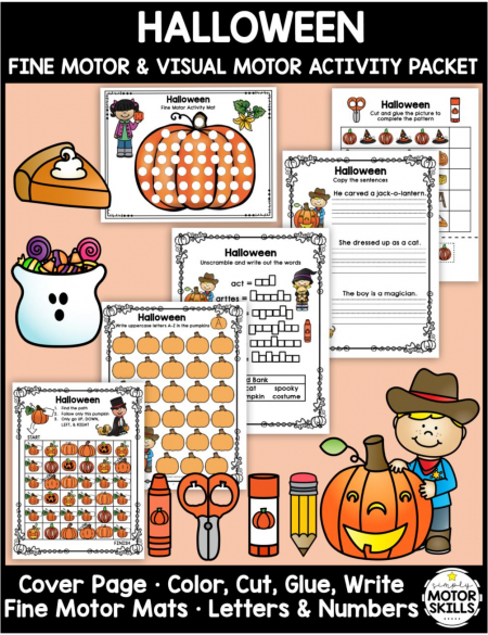 The HalloweenFine Motor Activities– Color, Write, Cut, Glue digital download is an awesome NO PREP activity ready to go!