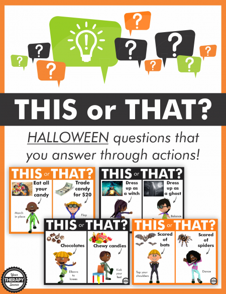 The This or That Halloween Game gets your student's brains and bodies working while burning off all that energy from sweet treats.