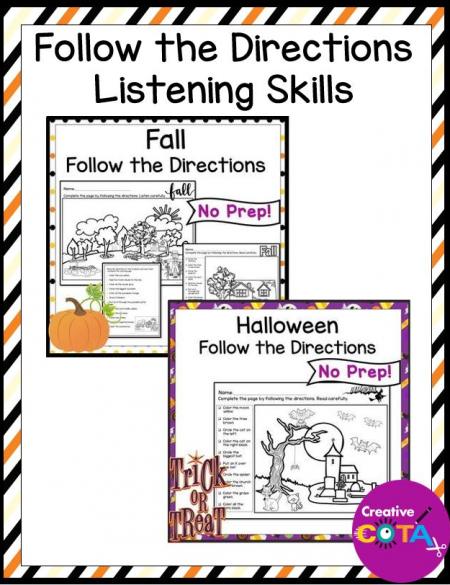 The Halloween Following Directions packet help students to work on listening skills, fine motor skills, and reading.