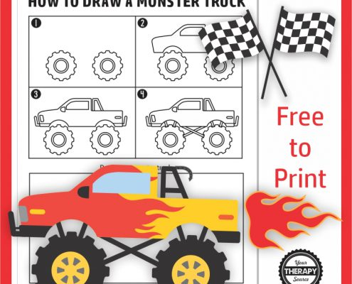 Here you can follow along the step by step directions to learn how to draw a fun monster truck. Download your freebie at Your Therapy Source.