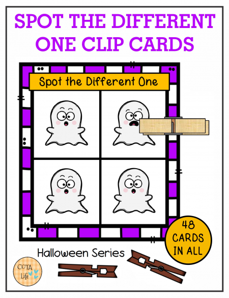Spot the Difference Halloween Clip Cards