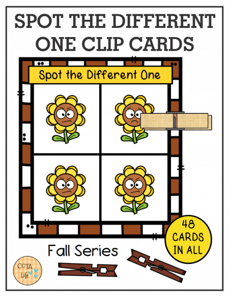 Check out these 48 Spot the Difference Fall cards created by Regina Parsons-Allen, a pediatric certified Occupational Therapy Assistant.